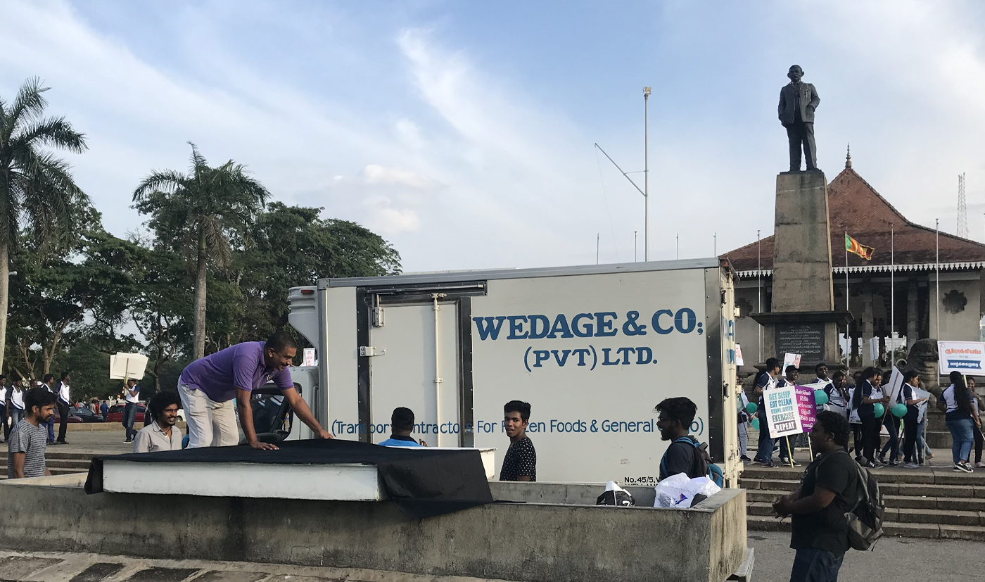 Just-ice (installing) at Independence Square, Colombo
